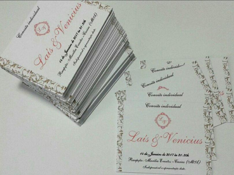 Convite individual para casamento