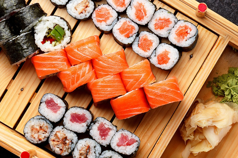 Sushi no buffet do casamento