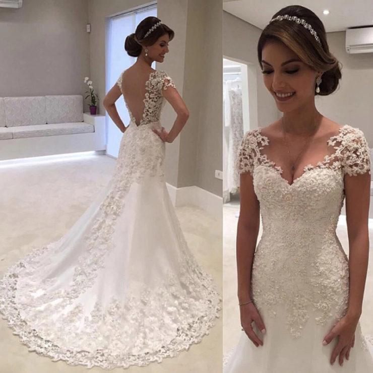 Vestido de noiva com pedraria
